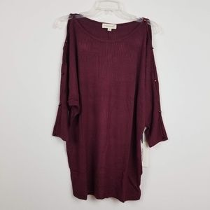NWT Burgundy thermal cold shoulder tunic top